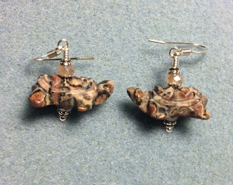 Pink leopardskin jasper gemstone turtle bead earrings adorned with peach Chinese crystal beads.
