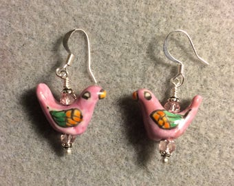 Pink and green ceramic bird bead earrings adorned with pink Chinese crystal beads.