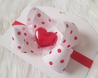 Valentines Day Headband, Baby Bow, Polka Dots, Glitter Heart