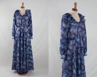 70s maxi dress, blue floral dress, long dress, turquoise blue dress, boho chic dress, bohemian dress, romantic dress, frills, blue shades