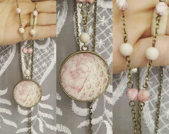 Cotton & Lace Glass Dome Cameo Necklace