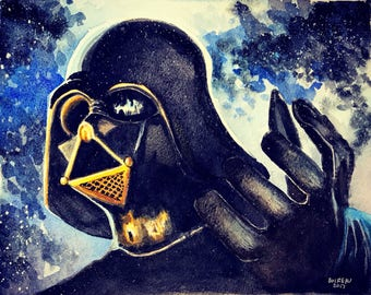 "Darth Vader Star Wars Print. 8.5 x 11 "" watercolor print on 80 lb card stock."