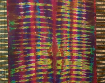 Hand dyed Curtain, Tie dyed Curtain by Australian Artist Clair Sol,  Boston Ribbed, Tab Top single curtain, 120x223 cm, tie dye, hippy, psy