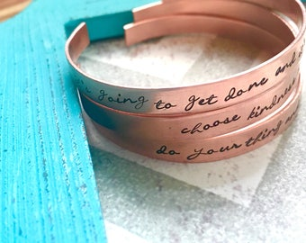 Cuff Bracelet-Hand stamped jewelry-Hand stamped cuff bracelet-Personalized and custom bracelet for women-Copper cuff bracelet