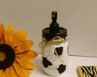 mason jar soap dispenser, mason jar, soap dispenser, cow print