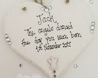 Personalised 'The angels danced the day you were born' new baby boy girl sparkly keepsake gift handmade