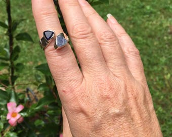 Iolite and raw tanzanite ring