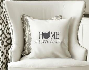 Ohio Pillow Cover, Ohio State Decor, Ohio, Housewarming Gift, Throw Pillow, Home Pillow, State Pillow, Pillow Cover,Wedding Gift