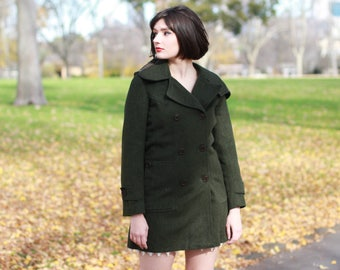 Vintage 1960s Green Wool Coat / Petite Trench Wool Coat / Zip Hood /Green French Wool Coat/ XS