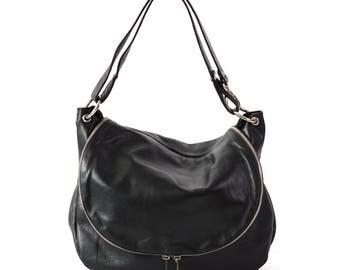 Messenger Bag, Shoulder Bag, Black Messenger Handbag, Black Leather Handbag, Personalized Bag, Leather Messenger Bag, Basic Bag