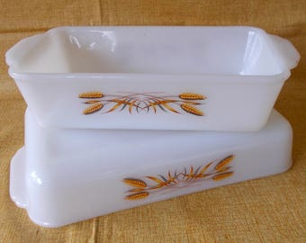 Fire King Baking Dishes, Wheat Pattern, Pair, Vintage