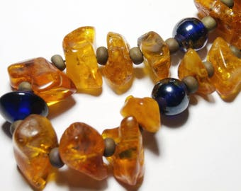 small necklace beads and amber blue, minimalist