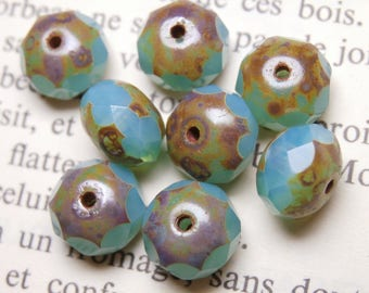 10 beads Czech glass, 6x8mm, tuquoise R806 picasso finish