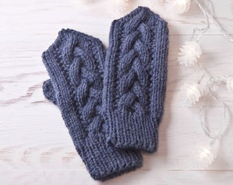 Jeans Knit Mittens, Hand Knit Warm Mittens, Winter Gloves, Christmas Gifts for Women, Gift for Wife, Blue Women's Mittens, Gift for Sister