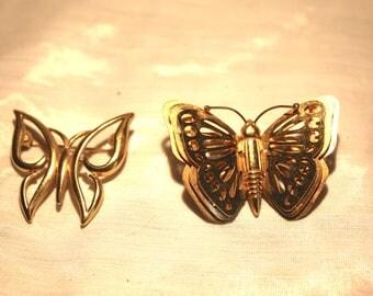 Butterfly Brooch - Vintage, Crown Trifari Signed, Gold Tone Filigree & Vintage Crown Trifari Butterfly Brooch