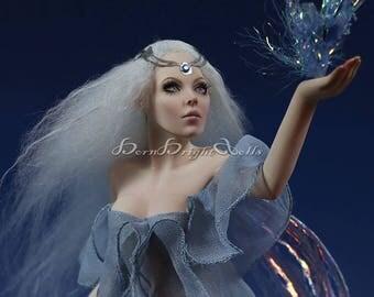OOAK Sculpture Star Fairy Sirius Queen Blue Faerie Fae Fantasy Art Doll Handmade Clay Figurine Realistic Lifelike Original by BBD