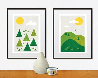 wall art, nature art, art print, nature art print, nature wall art, nursery decor, nature poster, forest print, modern art, mid century art