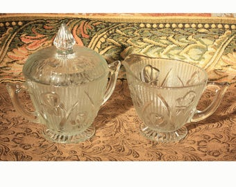 Iris and Herringbone Jeannette Glass Cream and Sugar, Depression Glass, Creamer and Covered Sugar, Flowers, Tableware