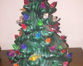 RARE & UNIQUE vintage ceramic Christmas tree w/ butterflies, ivy, birds, poinsettia ornaments