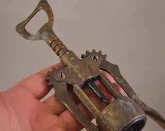 Vintage brass bottle opener,corkscrew
