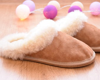 Leather slippers, Sheepskin Women's  slippers, Lambskin,  Boots,  Ugg style,  Warm, Comfy, 100% Sheepskin, Handmade, House slippers, Wool