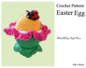 Easter egg crochet pattern Crochet egg flower Ladybird amigurumi Easter handcrafted egg Crochet large egg Festive egg Digital download