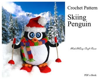 Large penguin crochet pattern Crochet penguin pattern Christmas decor Amigurumi penguin Skiing penguin crochet decor Digital download