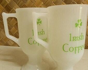Vintage Irish Coffee Milk Glass Mugs - Set of Two