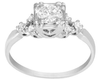 1/2 Carat Old Mine Round Diamond Engagement Ring In 14K White Gold