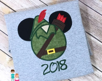 Robin Hood Mouse Head Inspired Shirt, Disney Vacation, Robin Hood Mickey Mousehead Shirt, Sherwood Forrest Robin Hood Applique Shirt