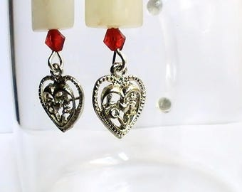 Medieval natural stone with heart earrings
