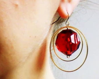 Red balls and hoops earrings