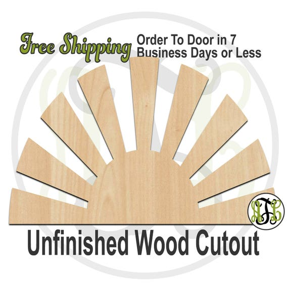 Rising Sun - 210020- Summer Cutout, unfinished, wood cutout, wood craft, laser cut shape, wood cut out, Door Hanger, wooden