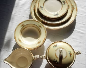 Myott Porcelain Dinnerware Set for Two - Myott Fruit and Urn Pattern Two Plates, Bowls, Sugar, Creamer - Myott Staffordshire Pattern 2327