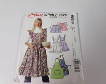 Mc calls Stitch n save apron pattern #M5358  and makes 3 different aprons fun and fast to make. this pattern is new and uncut.