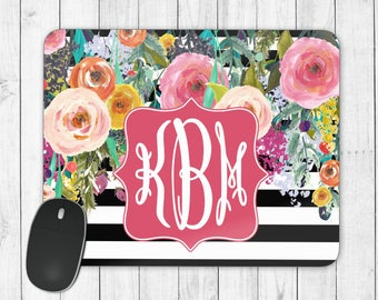 Monogram Mouse Pad, Personalized Mouse Pad, Floral Mouse Pad, Desk Accessories, Custom Mouse Pad, Floral Monogram, Round Mouse Pad, Flowers