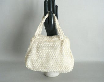 1940s Cream Ivory Small Beaded Top Handle Purse