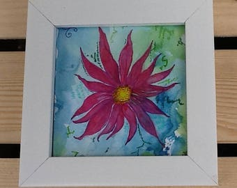 Flower painting, original watercolour, Daisy flower, Dahlia flower, red flower picture, home decor , wall art, framed painting, white frame