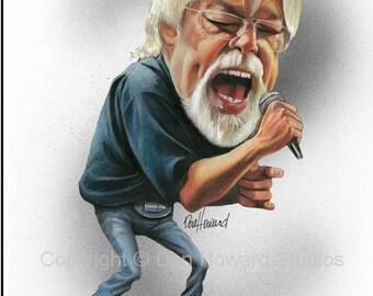 Don Howard's Depiction of Bob Seger Celebrity Caricature