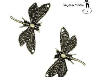 1 charm Butterfly Dragonfly bronze 48 x 31mm