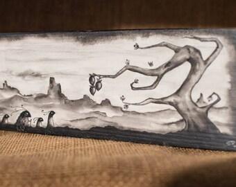 Original Acrylic Painting - Landscape, Journey - Wooden Block, Freestanding - Desk Decoration - Dark, Alternative, Nature Theme