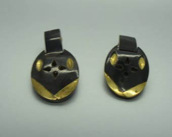 Horn and Brass Clip on Earrings