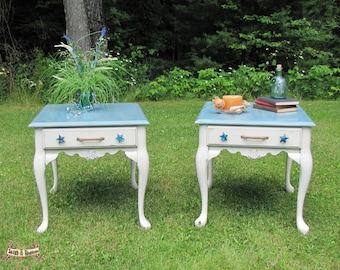 end tables, night stands, cottage chic side tables, accent side tables, beachy tables,