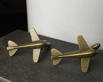 Airplane Cufflinks - Aviation Gifts Cufflinks - Cufflinks for Wedding - Mens Gift - Anniversary Gifts for Men - Pilot Gift Plane Cuff links
