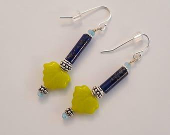 Lapis, Silver & Green Glass Earrings