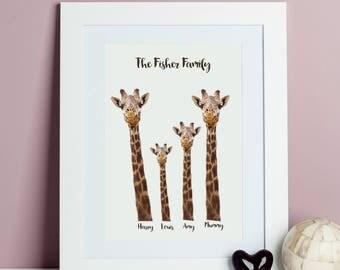 Personalised Giraffe Family Print  - Giraffe Print, Giraffe artwork,  Giraffe poster - Safari Art - Family Print