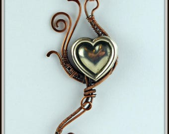 Copper Wire Wrapped Heart Pendant, Silver and Copper Heart Necklace, Romantic Gift, Wire Wrap Jewelry, Wire Woven Jewelry, Valentine's Gift