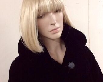 Toby Martin New York 1960s black velvet swing back coat M