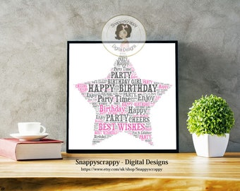 Birthday Typography, Star Birthday Word Art.   Print Your Own,  Instant Download