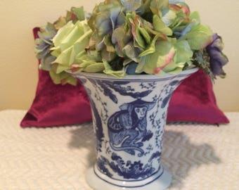 Vintage Chinoiserie Monkey Vase- Vintage